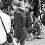 Straßenmusiker im Hafen in Kopenhagen.